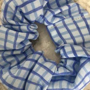 Blue plaid man bun hair scrunchie ponytail custom